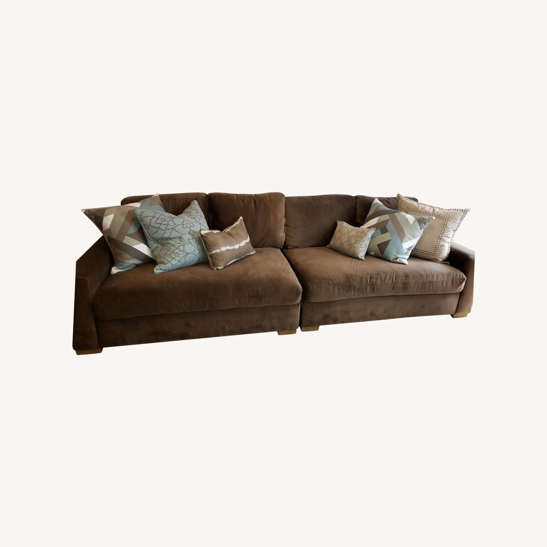 Restoration Hardware Maxwell 2-Piece Sofa in Mocha Velvet - image-0