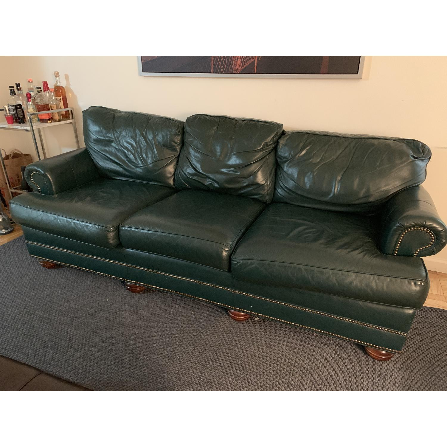 Jamestown Sterling Green Leather Sofa - image-3