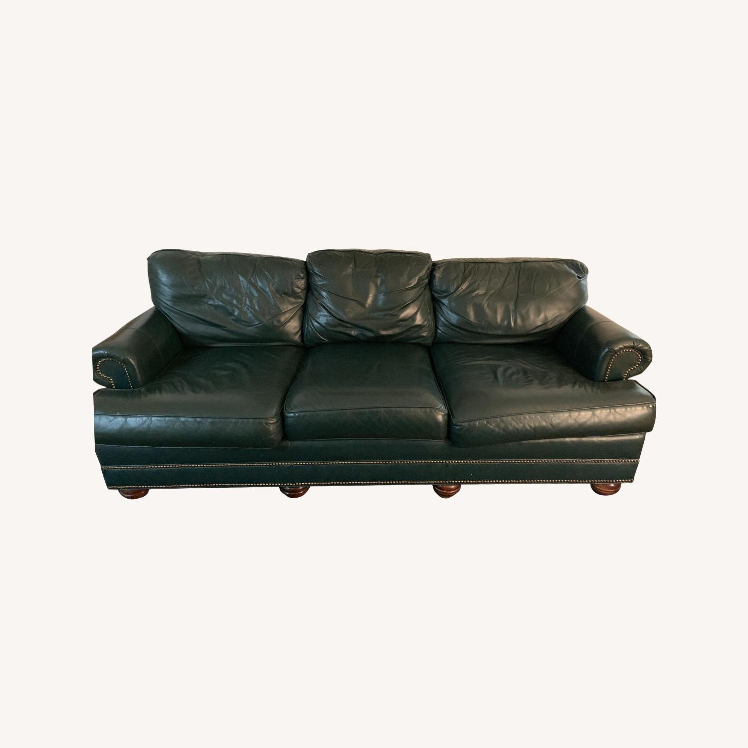 Jamestown Sterling Green Leather Sofa - image-0