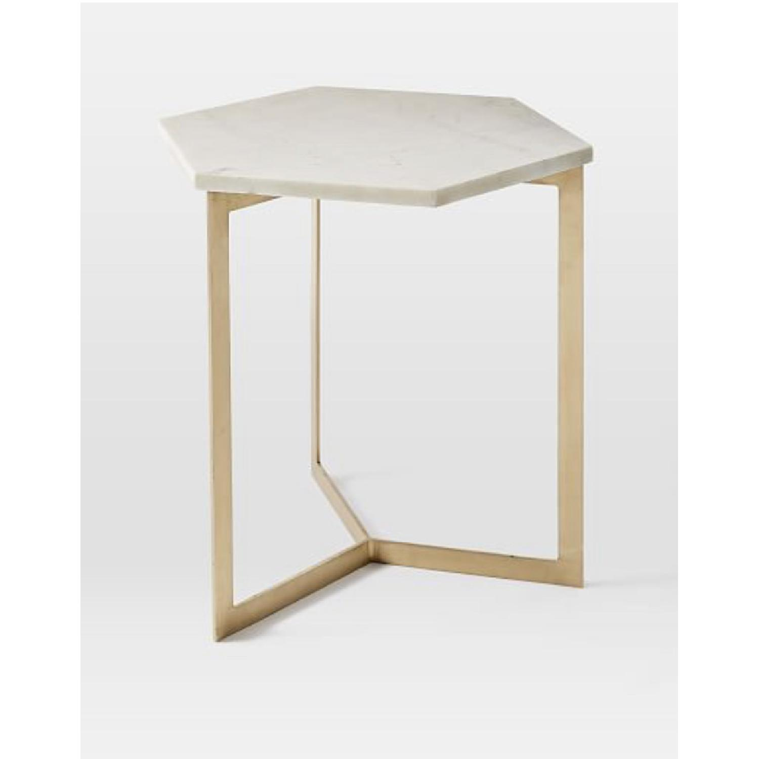 West Elm Hex Tables in Marble Antique Brass - image-1