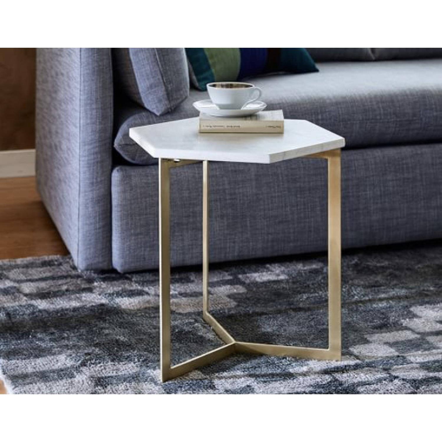 West Elm Hex Tables in Marble Antique Brass - image-2