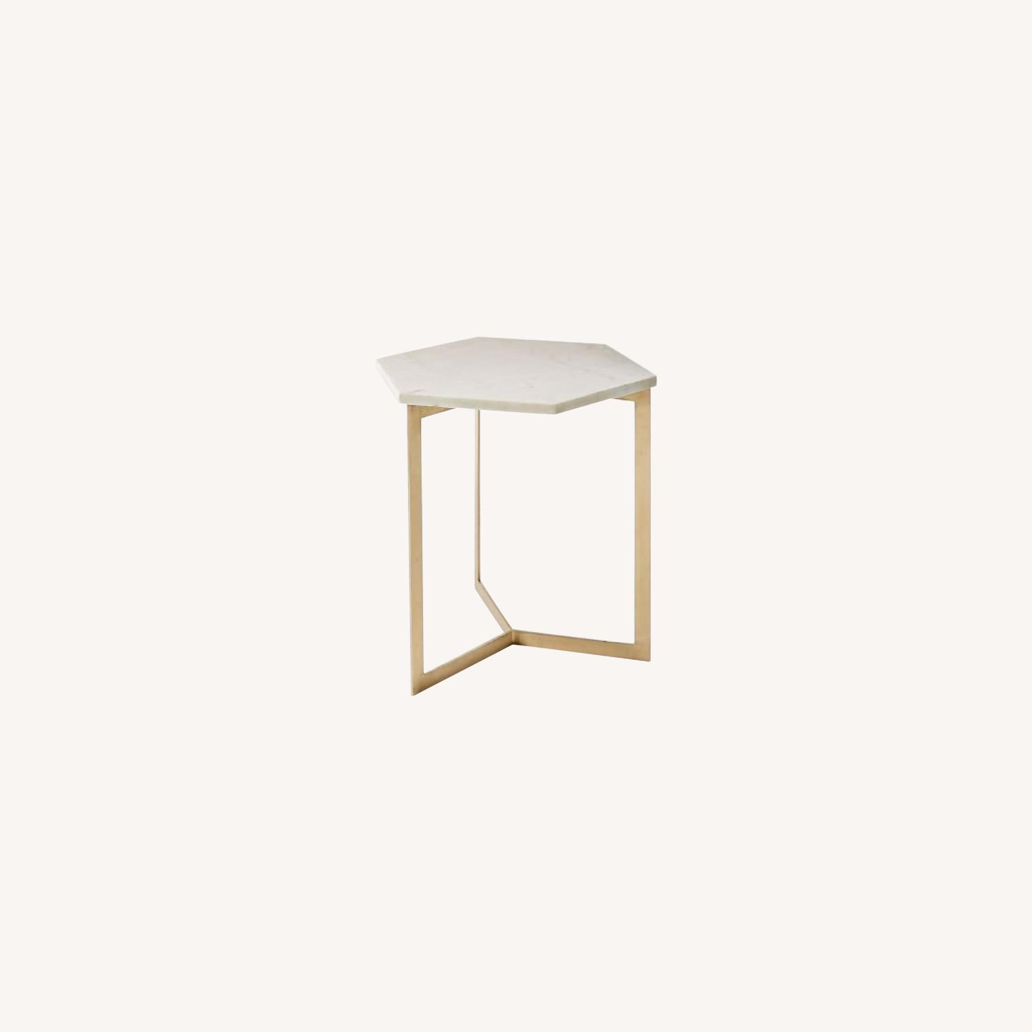 West Elm Hex Tables in Marble Antique Brass - image-0