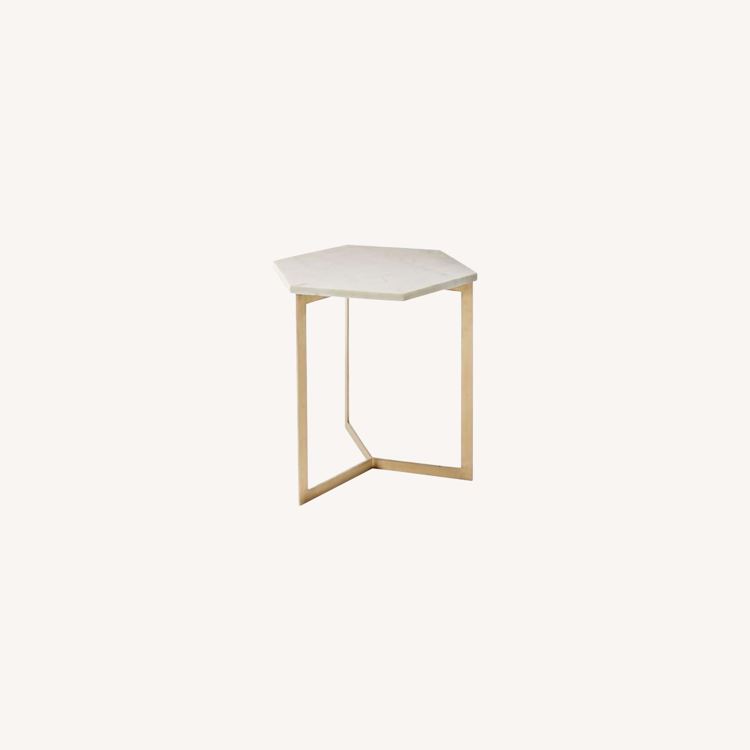 West Elm Hex Tables in Marble Antique Brass