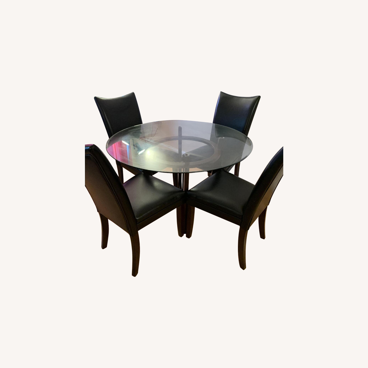 Glass Dining Table w/ 4 Leather Chairs