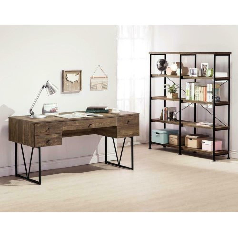 Rustic Oak Bookcase With Black Metal Frame - image-2