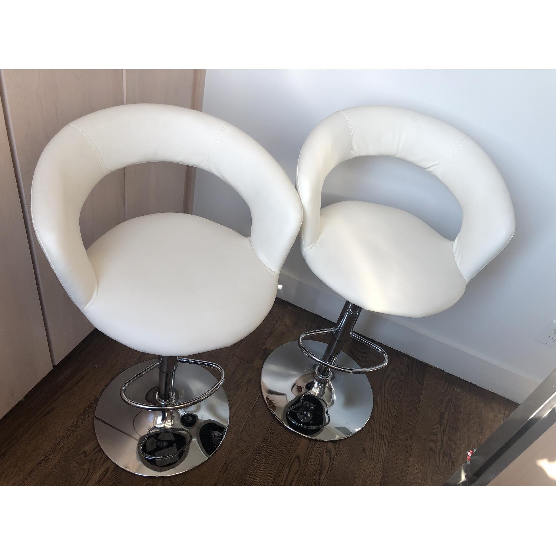 Modern Off-White Swivel Barstools w/ Cushioned Seat/Back - image-2
