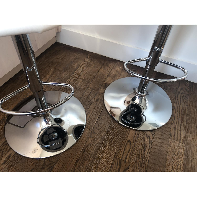 Modern Off-White Swivel Barstools w/ Cushioned Seat/Back - image-3