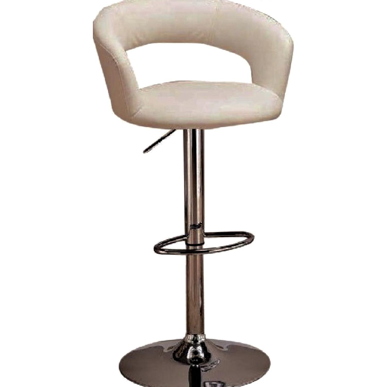 Modern Off-White Swivel Barstools w/ Cushioned Seat/Back - image-0