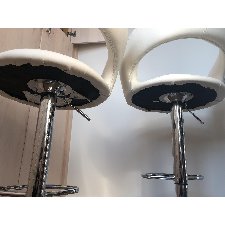 Modern Off-White Swivel Barstools w/ Cushioned Seat/Back - image-4