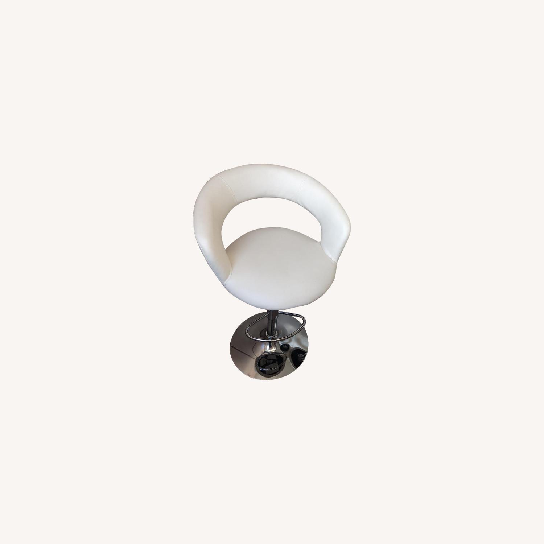 Modern Off-White Swivel Barstools w/ Cushioned Seat/Back - image-5