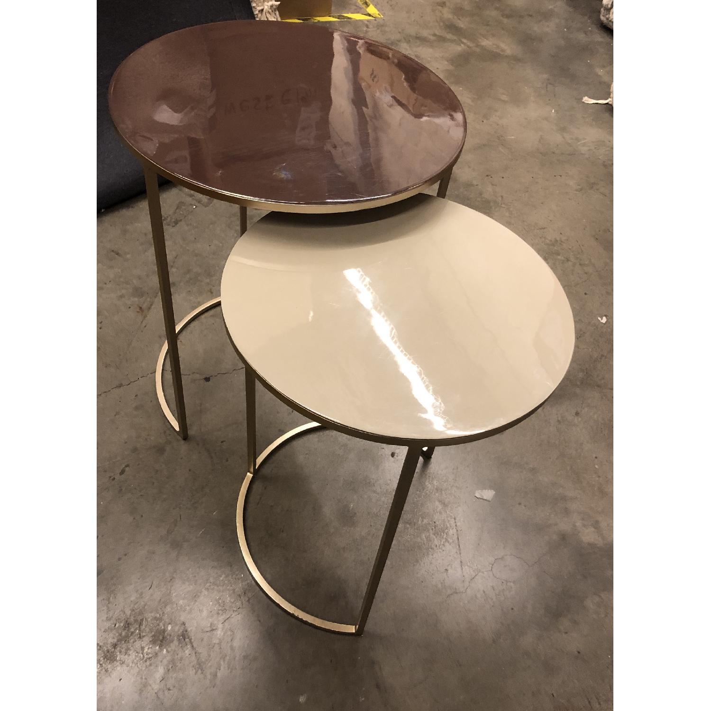 West Elm Enamel Round Nesting Side Tables - image-3