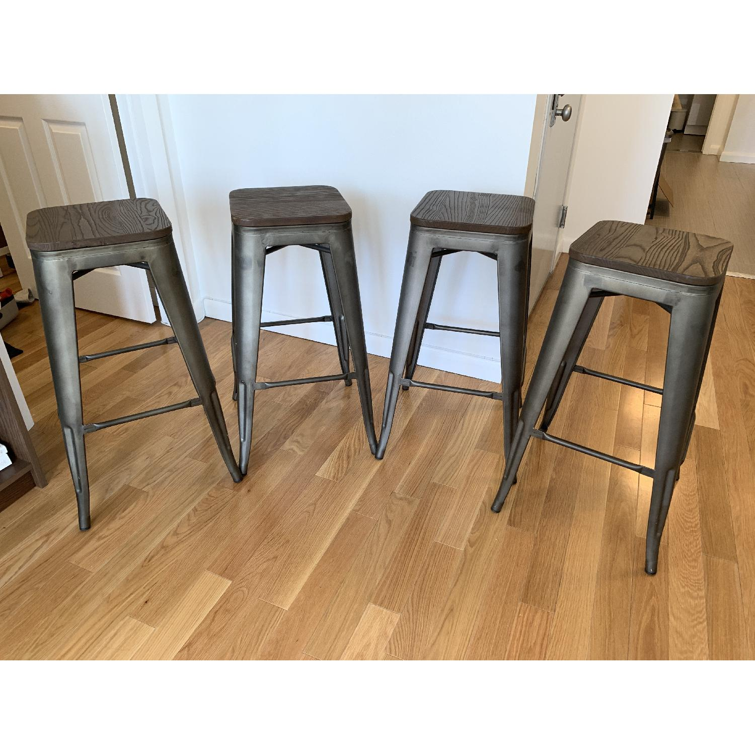 BTExpert Industrial Rustic Metal Stools w/ Wood Top - image-1