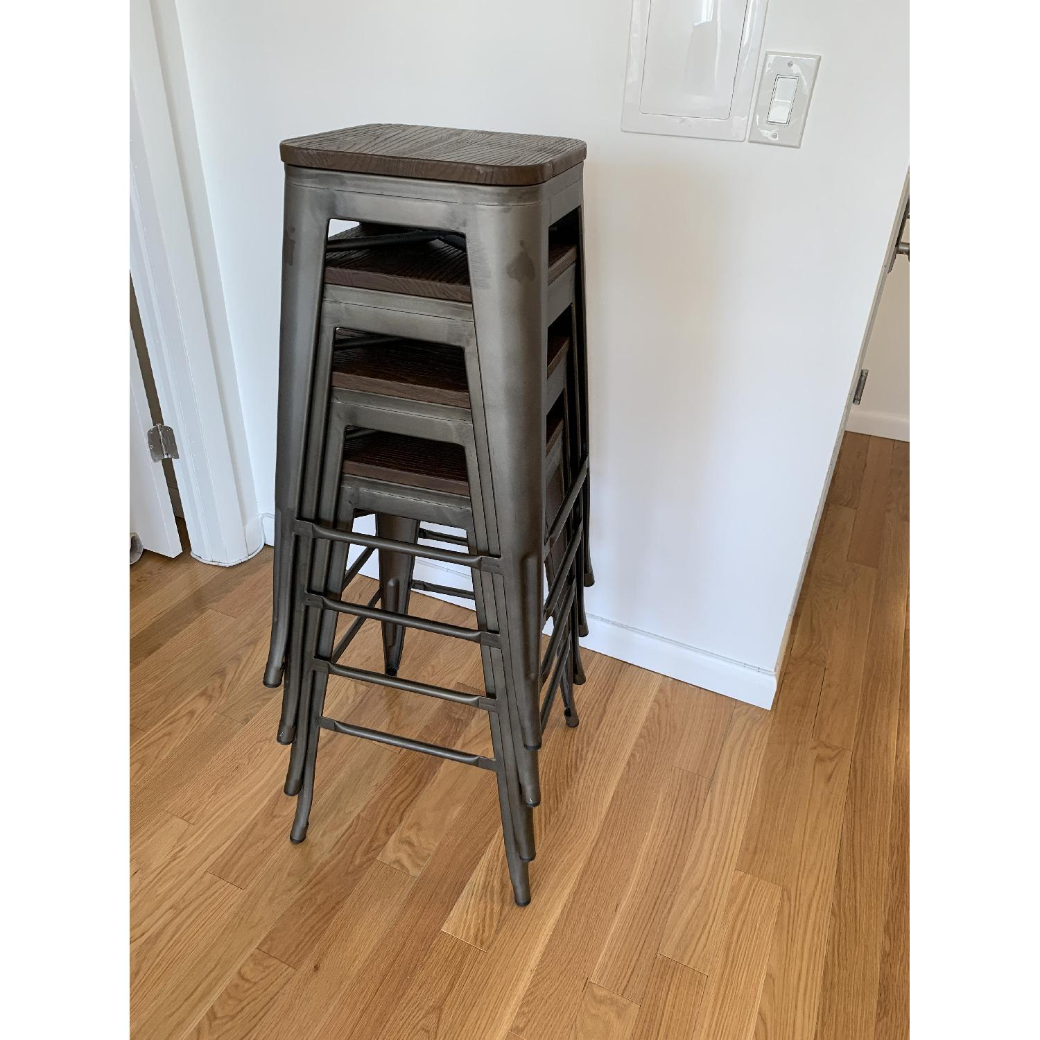 BTExpert Industrial Rustic Metal Stools w/ Wood Top - image-2