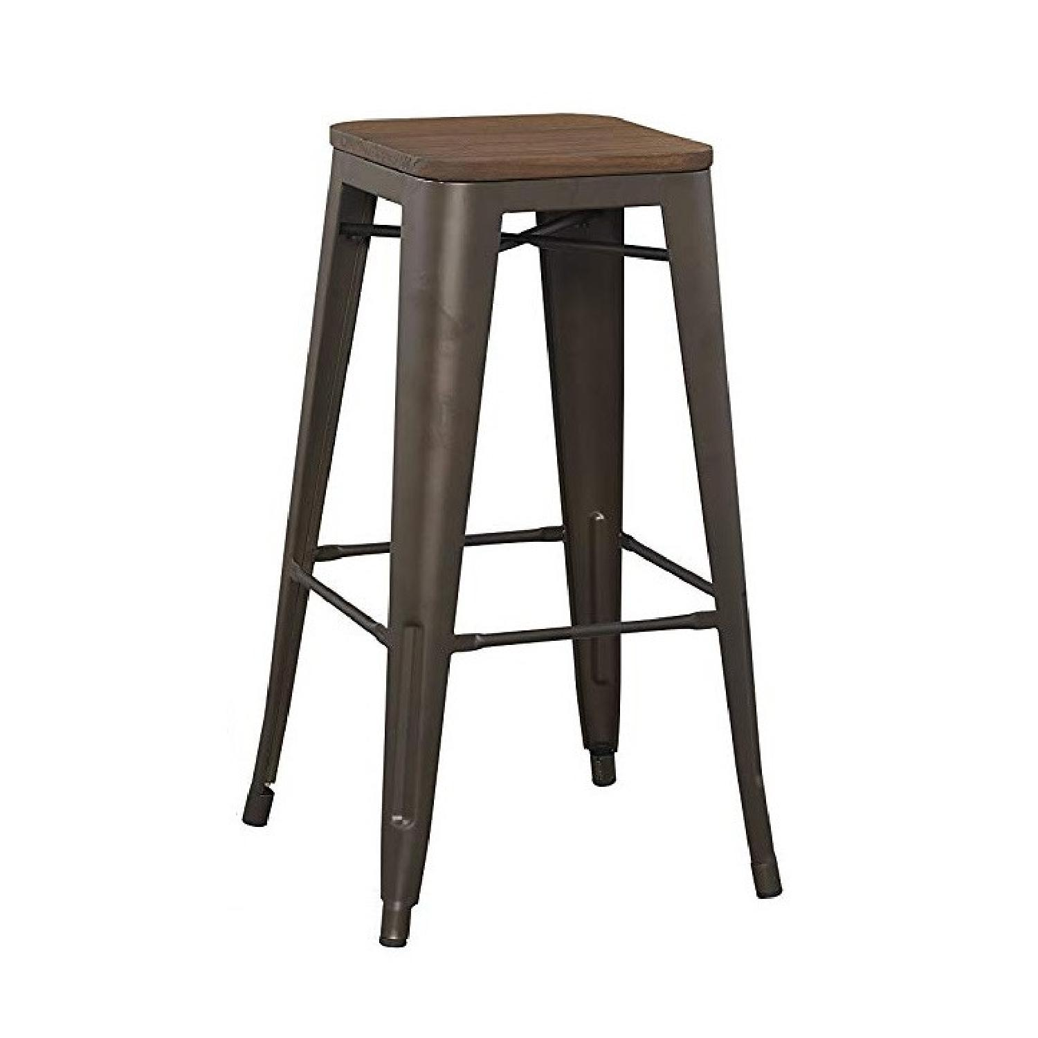 BTExpert Industrial Rustic Metal Stools w/ Wood Top - image-0