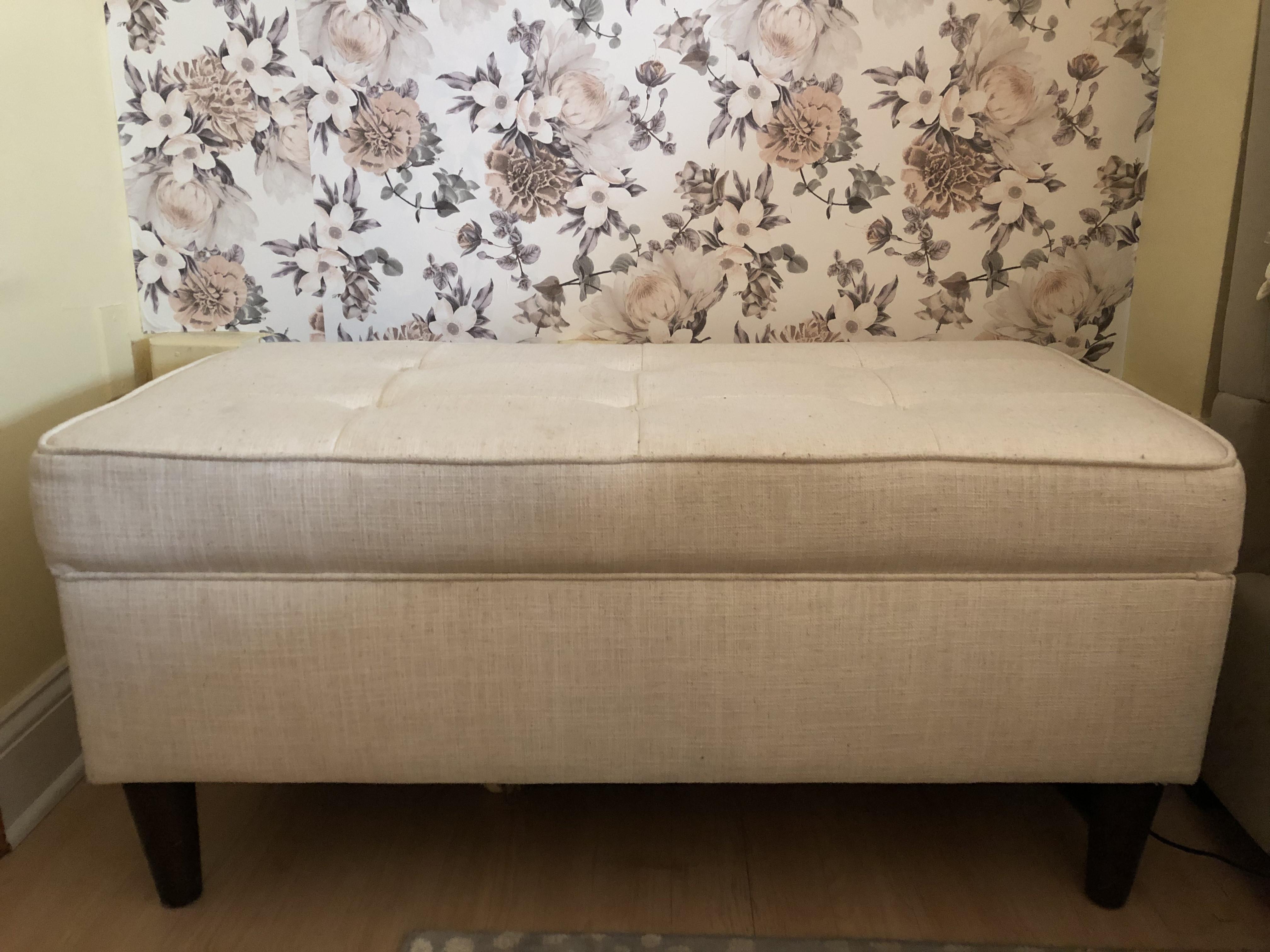 White Linen Storage Bench