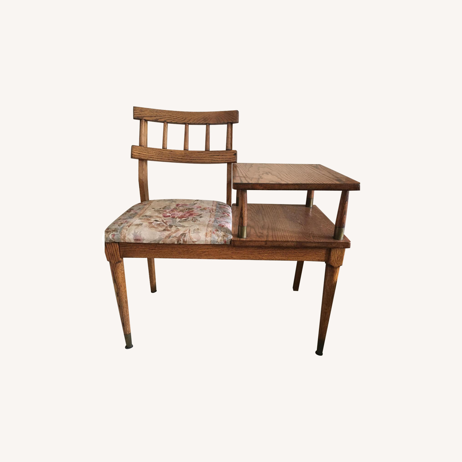 Mid Century Vintage Oak Telephone Table w/ Upholstered Chair