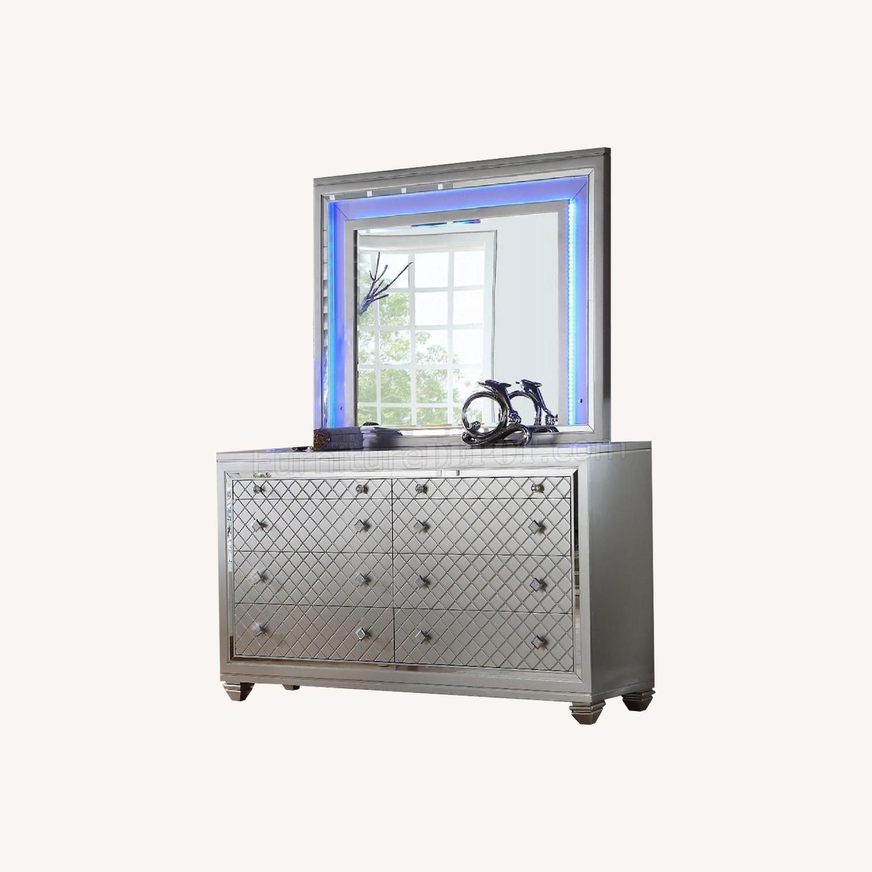 Silver Dresser w/ Mirror & Lights - image-0