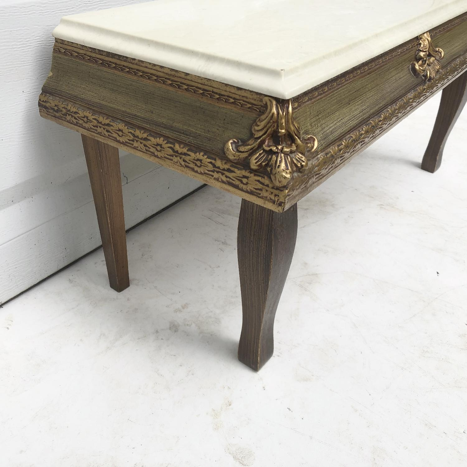 Vintage French Country Marble Top Table - image-5