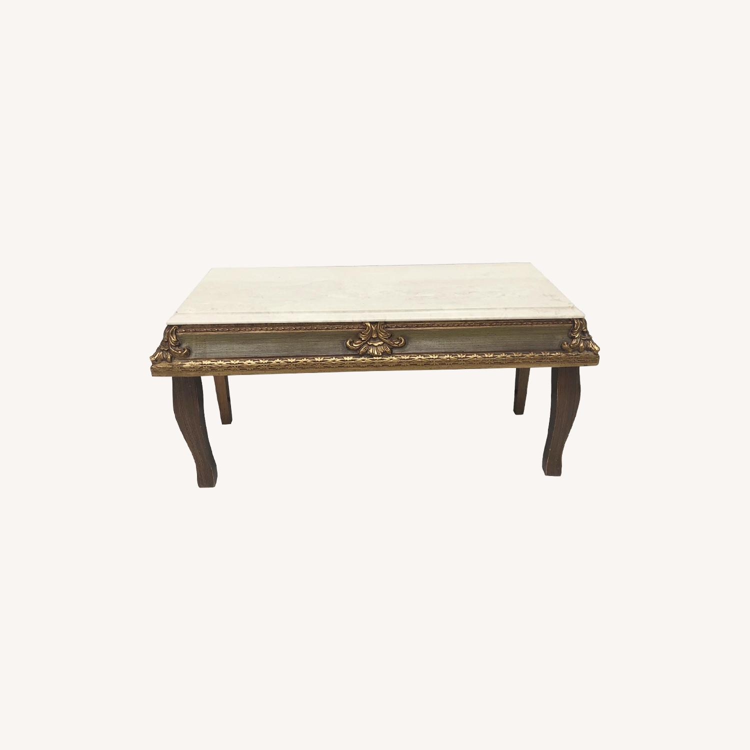 Vintage French Country Marble Top Table - image-0