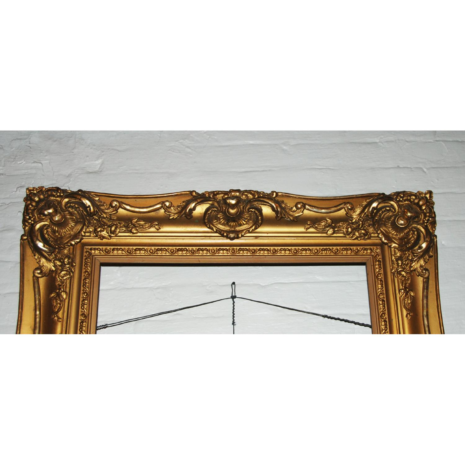 French Antique Louis XV Ornate  Carved Gilded Frame Mirror - image-1