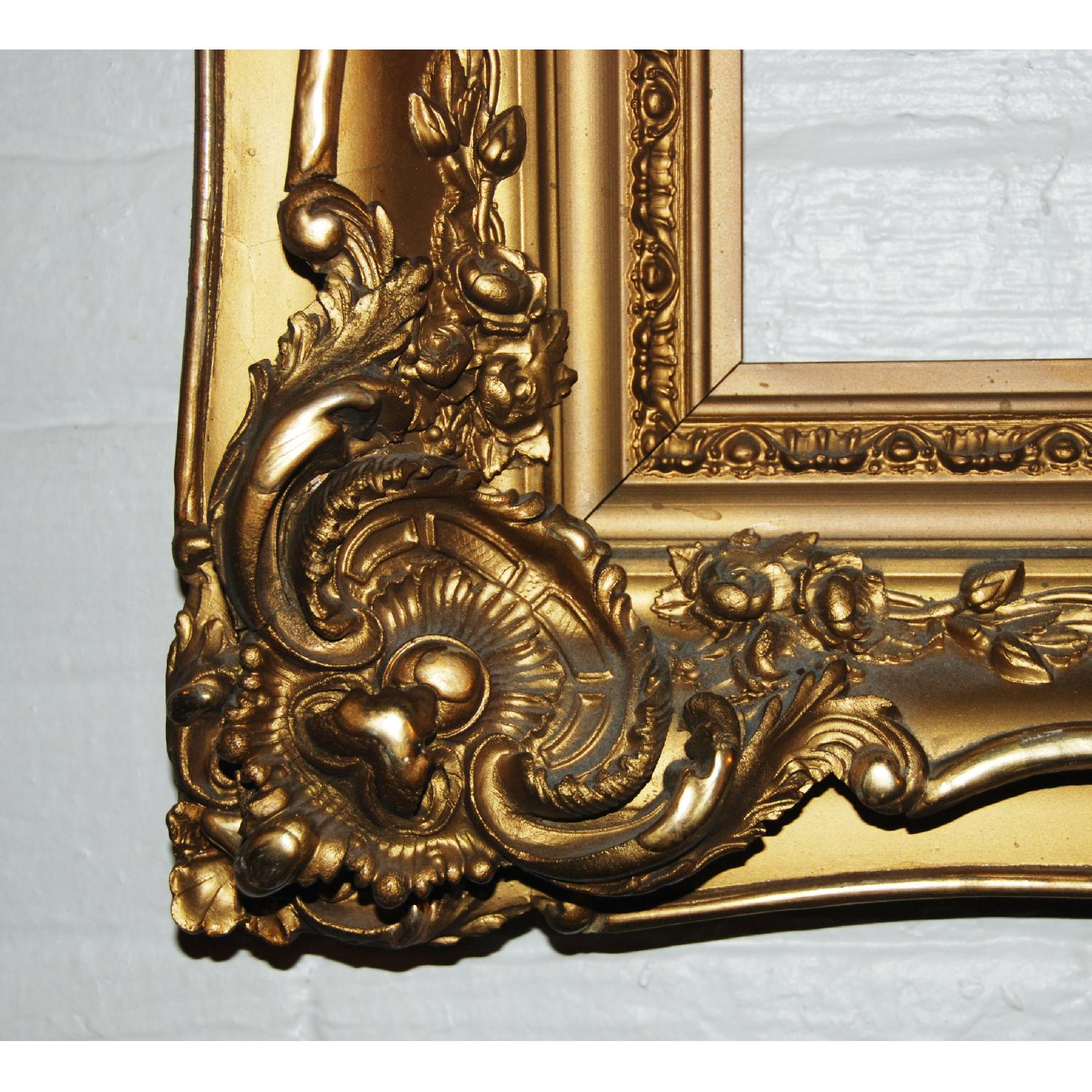 French Antique Louis XV Ornate  Carved Gilded Frame Mirror - image-0