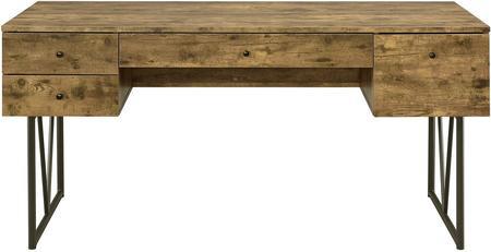 Antique Nutmeg Desk w/ Black Metal Frame