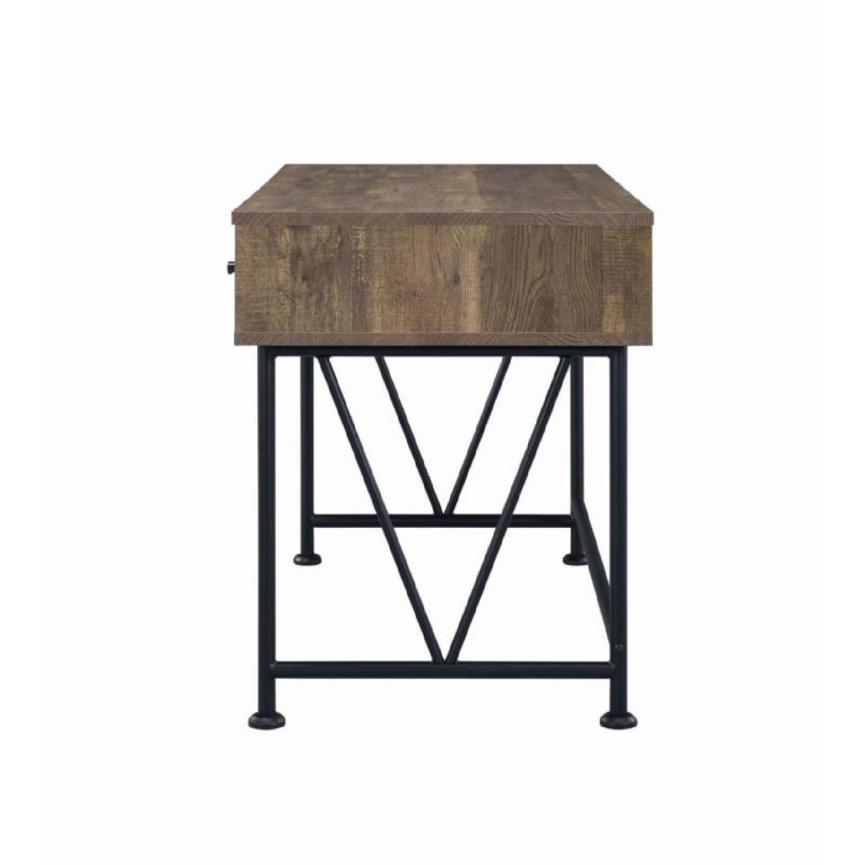 Natural Rustic Oak Desk w/ Black Steel Frame Legs - image-2