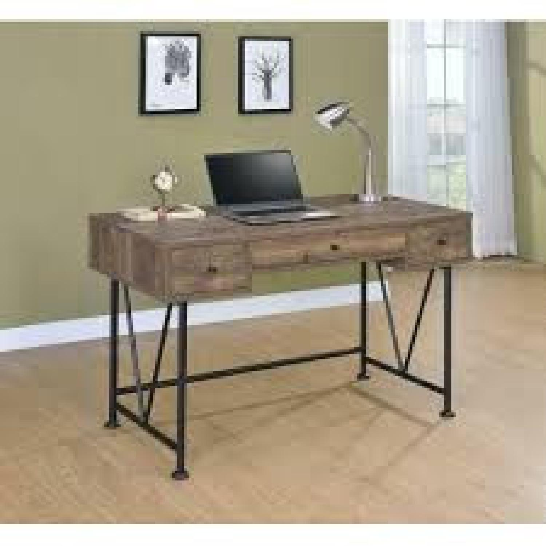 Natural Rustic Oak Desk w/ Black Steel Frame Legs - image-1