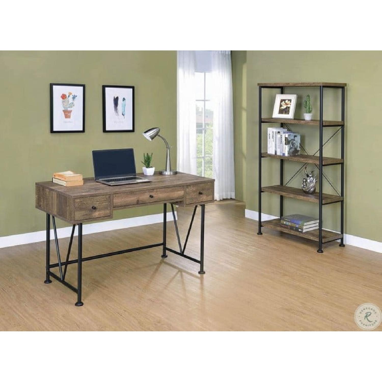 Natural Rustic Oak Desk w/ Black Steel Frame Legs - image-3