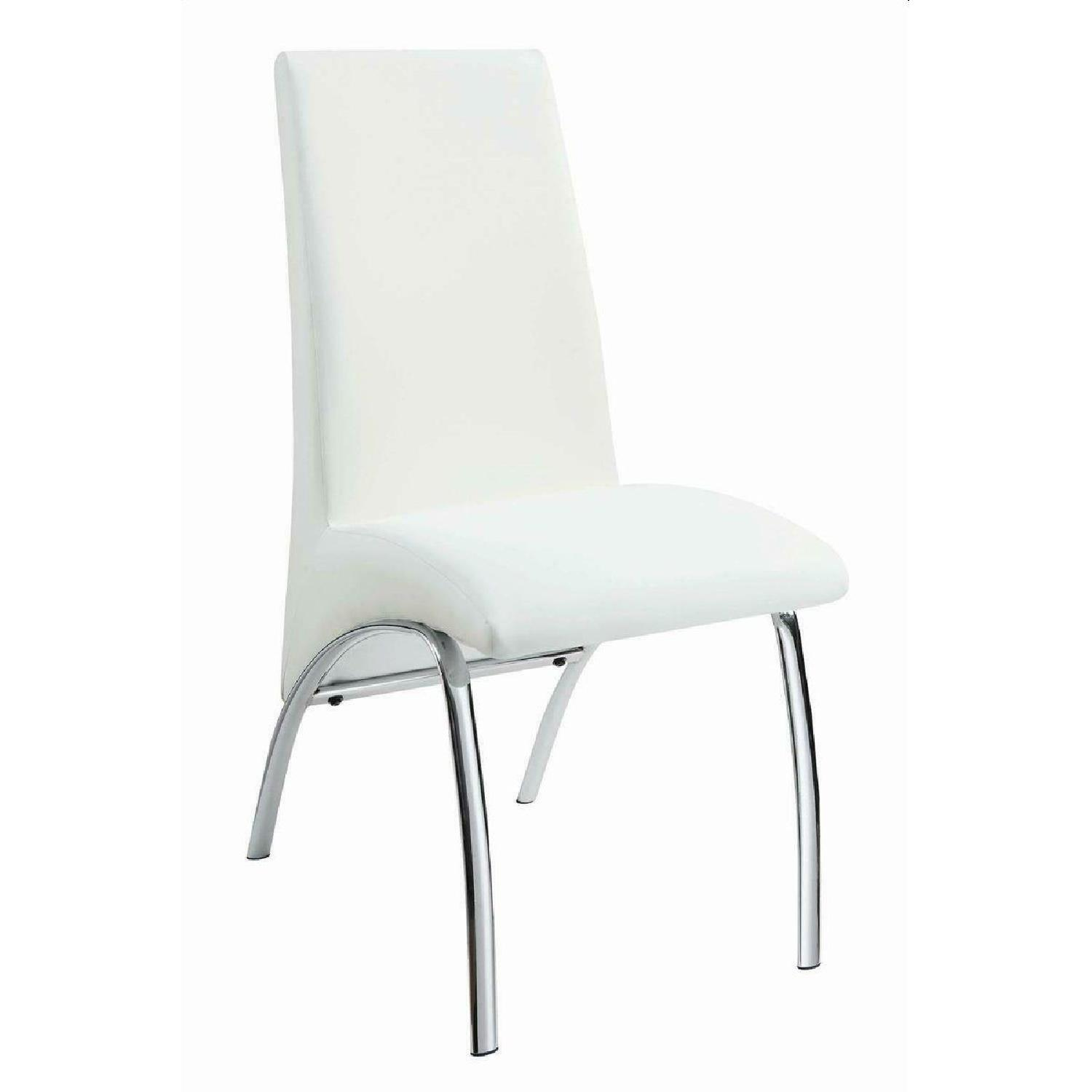 Modern Dining Chair in White Leatherette w/ Chrome Legs - image-0
