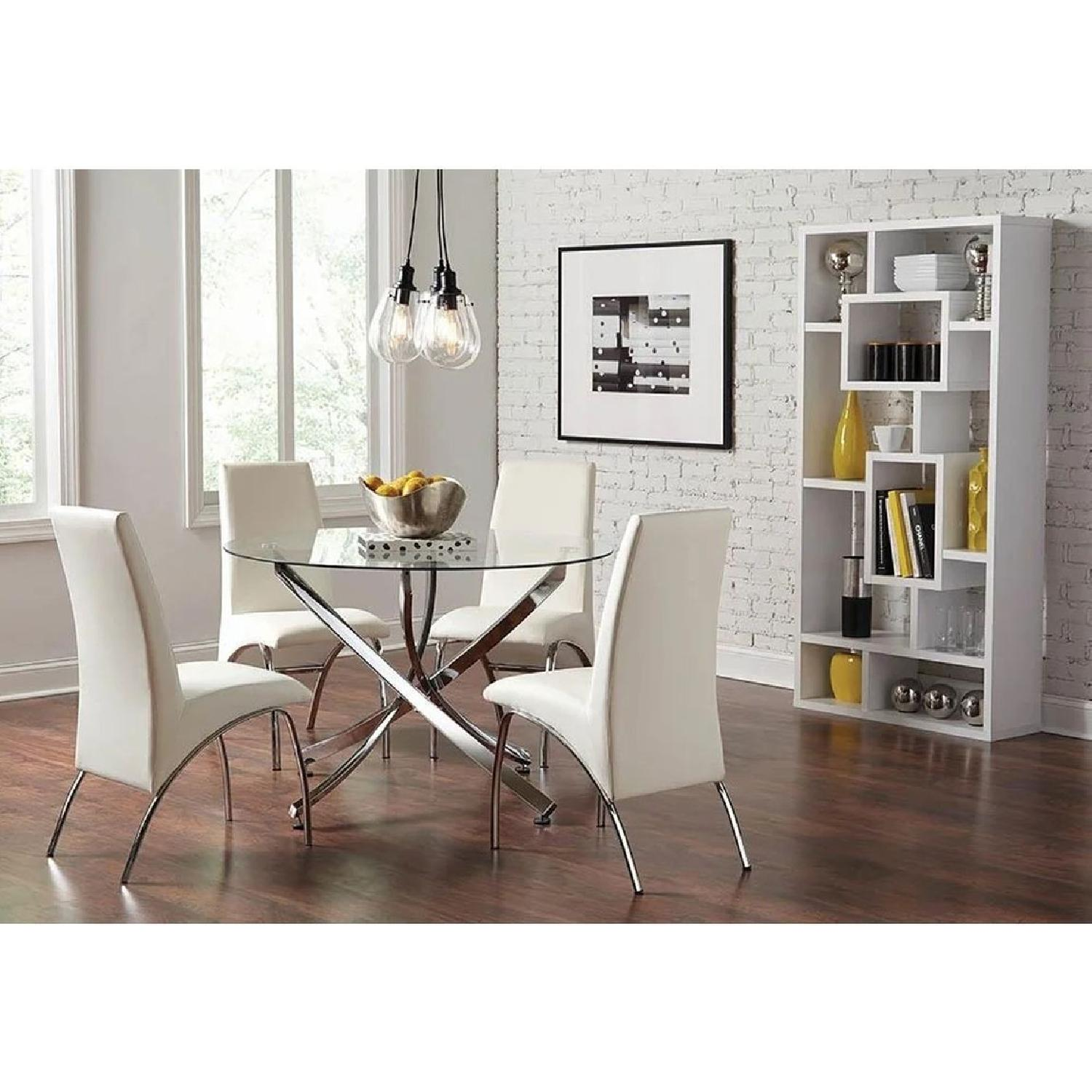 Modern Dining Chair in White Leatherette w/ Chrome Legs - image-2