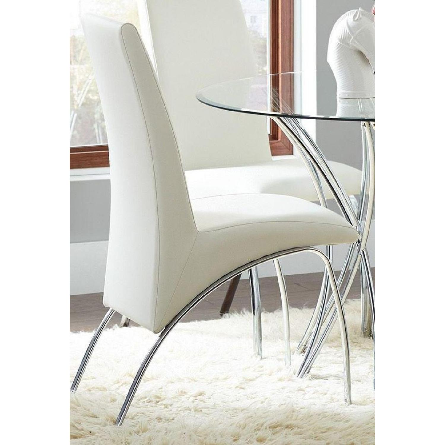 Modern Dining Chair in White Leatherette w/ Chrome Legs - image-1