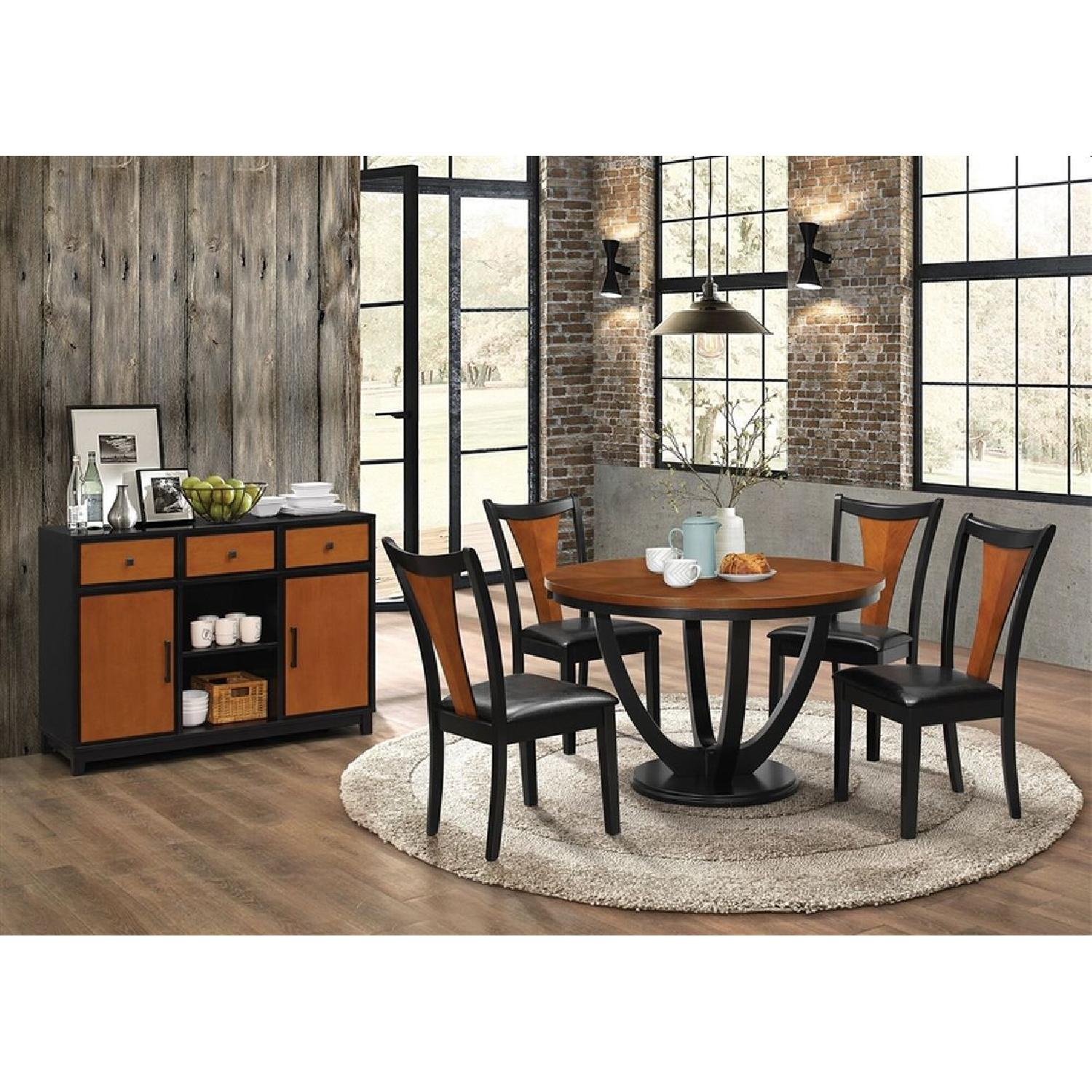 Modern Round Table in Amber w/ Black Base - image-2