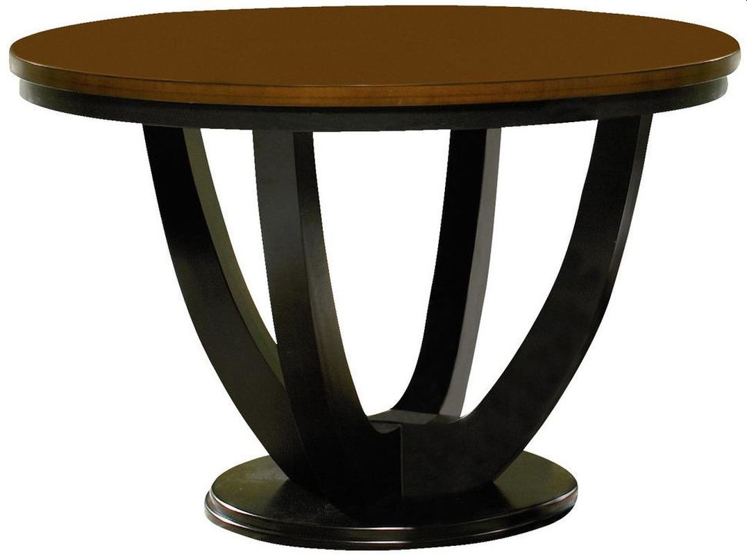 Modern Round Table in Amber w/ Black Base