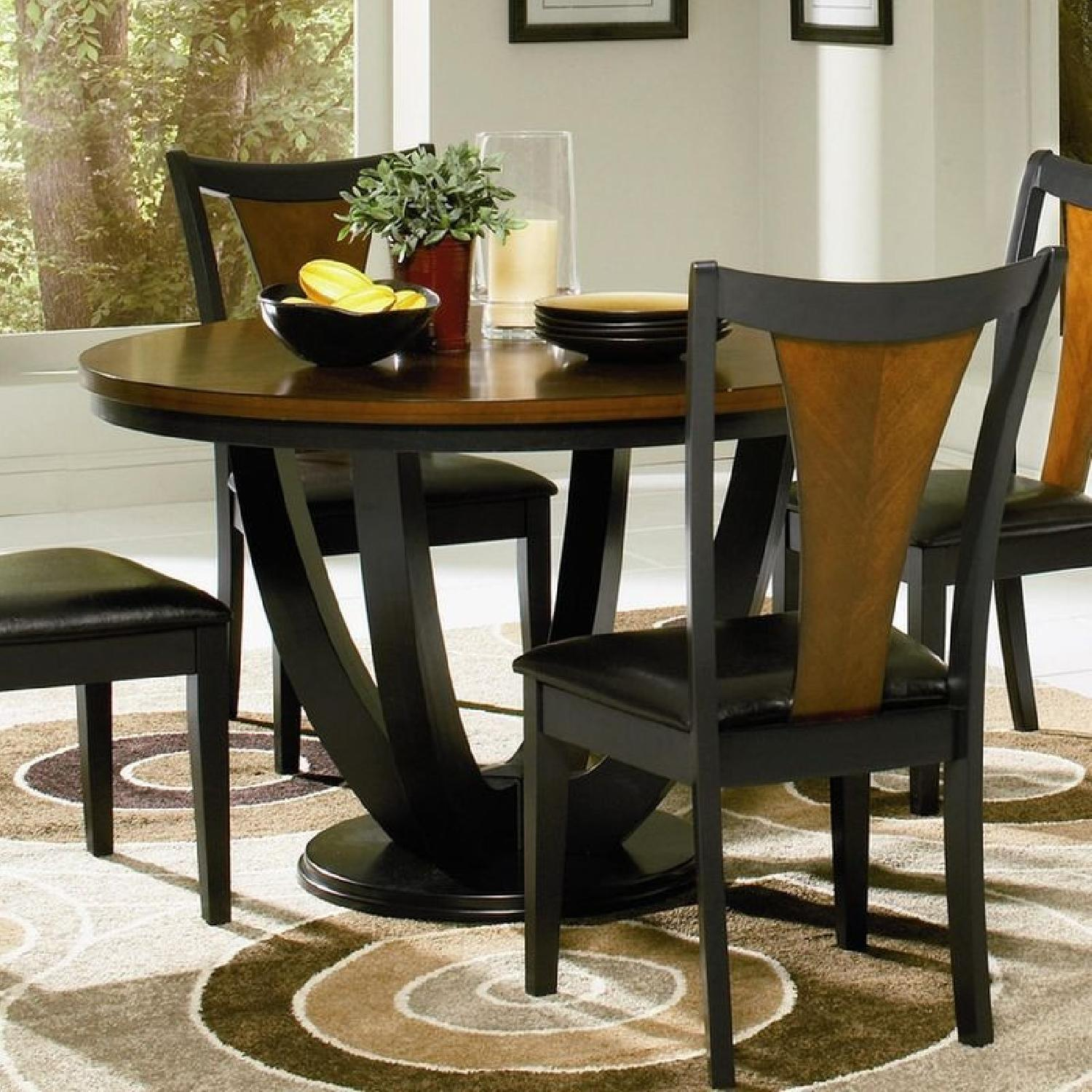 Modern Round Table in Amber w/ Black Base - image-3