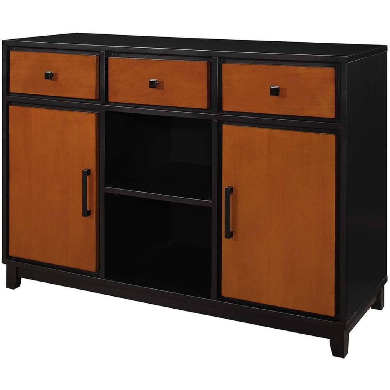 Modern Sideboard in 2-Tone Amber/Black Finish - image-1
