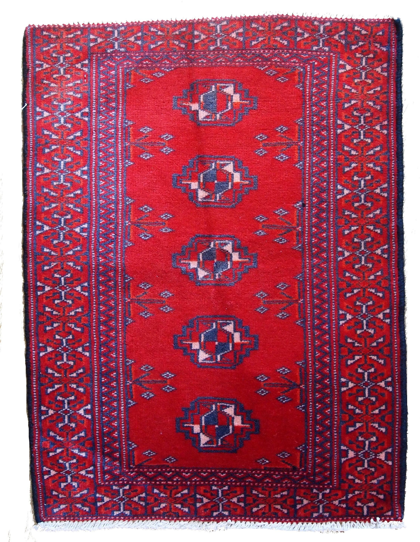 Handmade Vintage Turkoman Rug