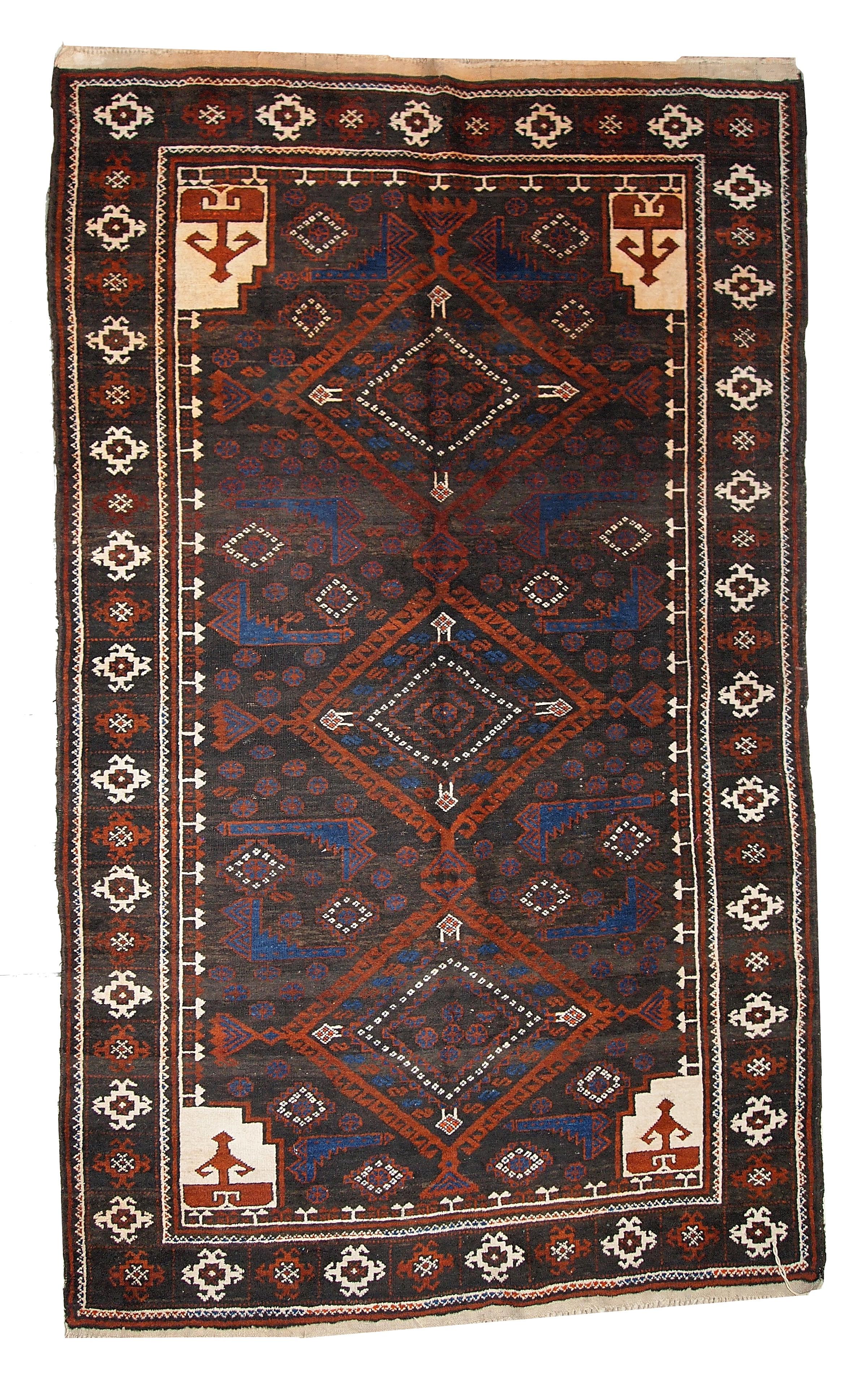 Handmade Vintage Afghan Baluch Rug