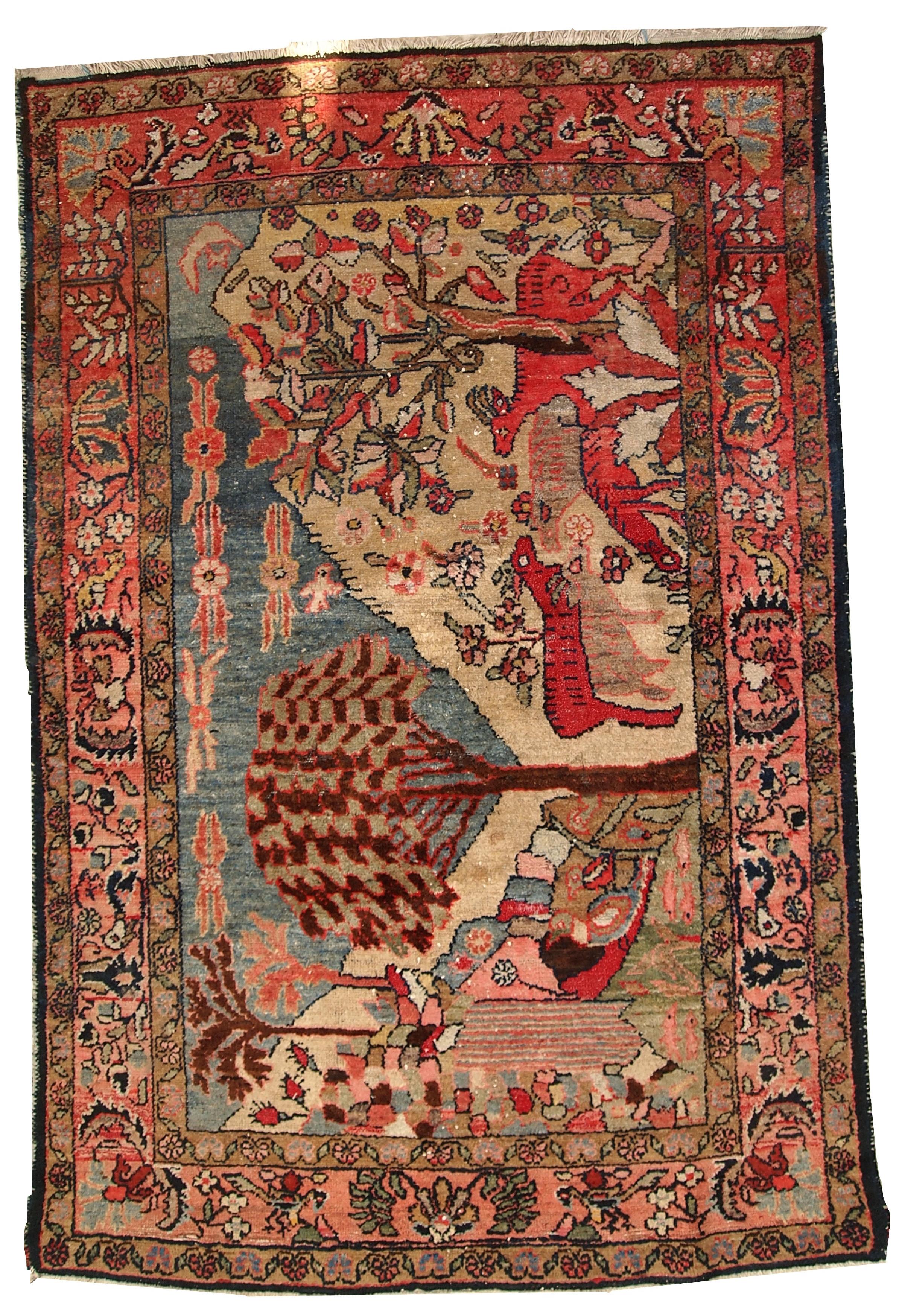 Handmade Antique Persian Malayer Rug