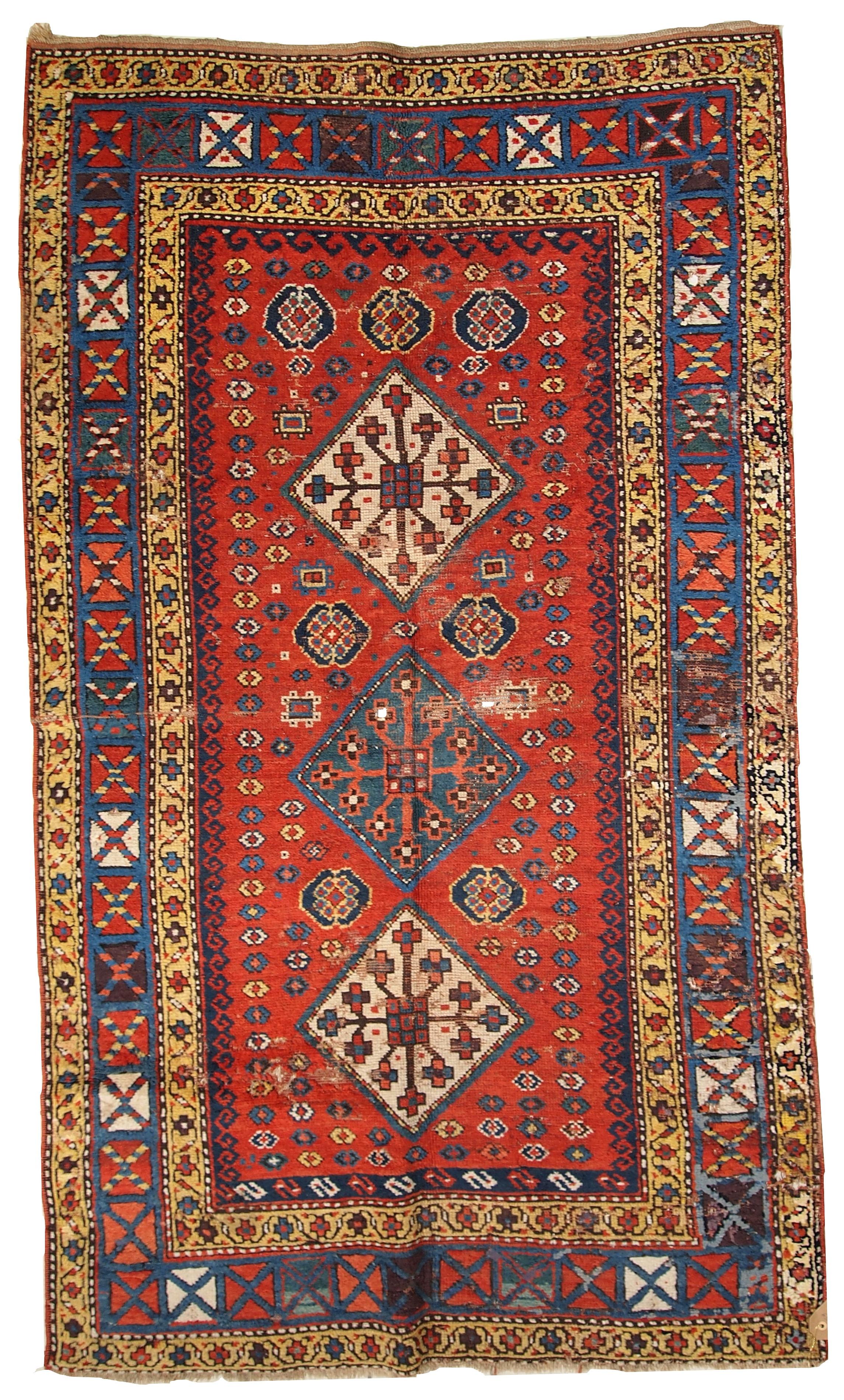 Handmade Antique Caucasian Kazak Rug