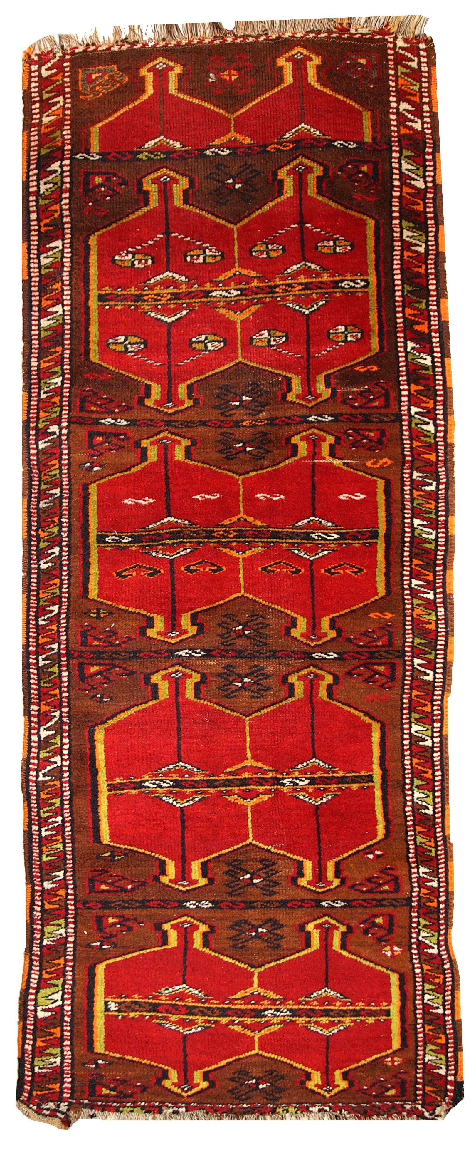 Handmade Antique Collectible Turkish Yastik Rug