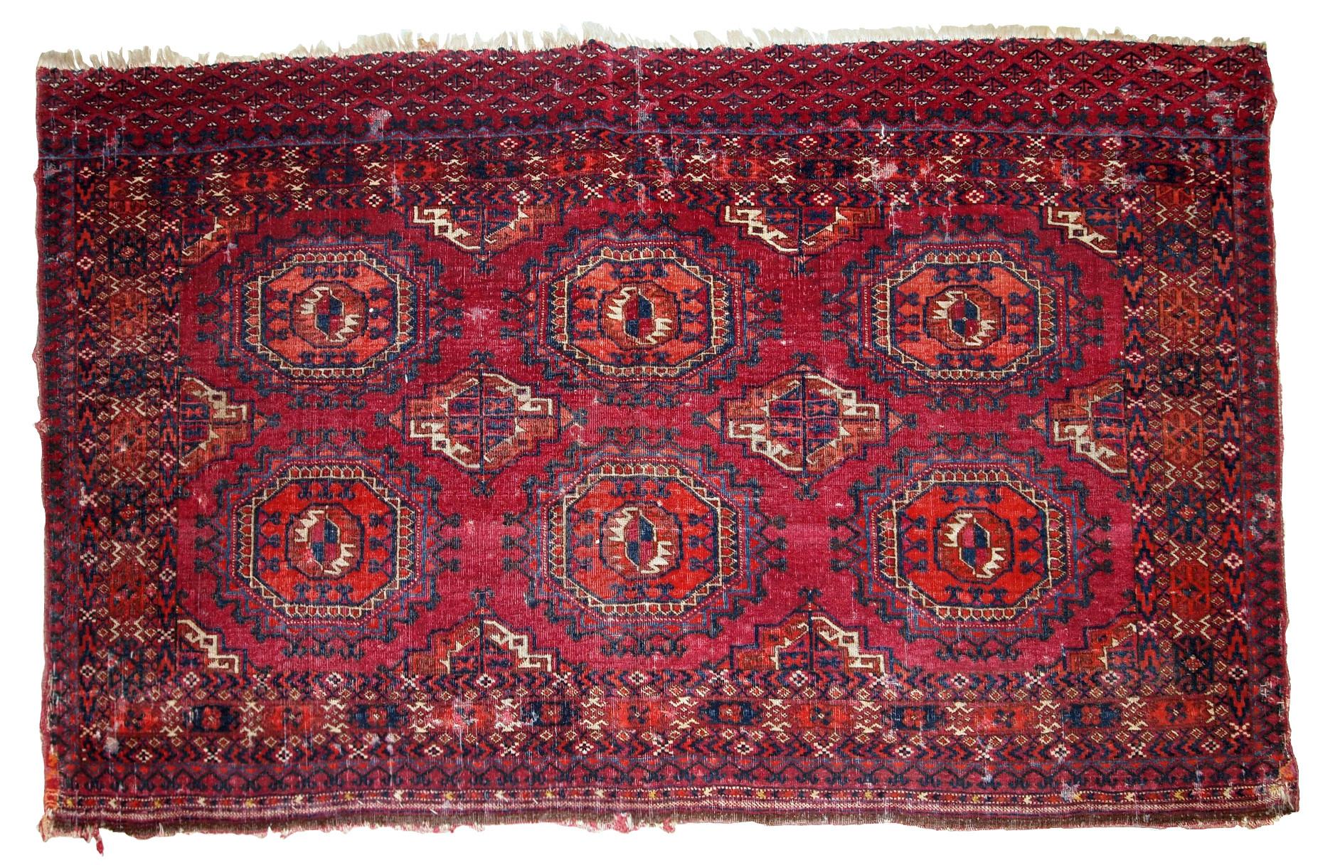 Handmade Antique Collectible Turkmen Saryk Rug