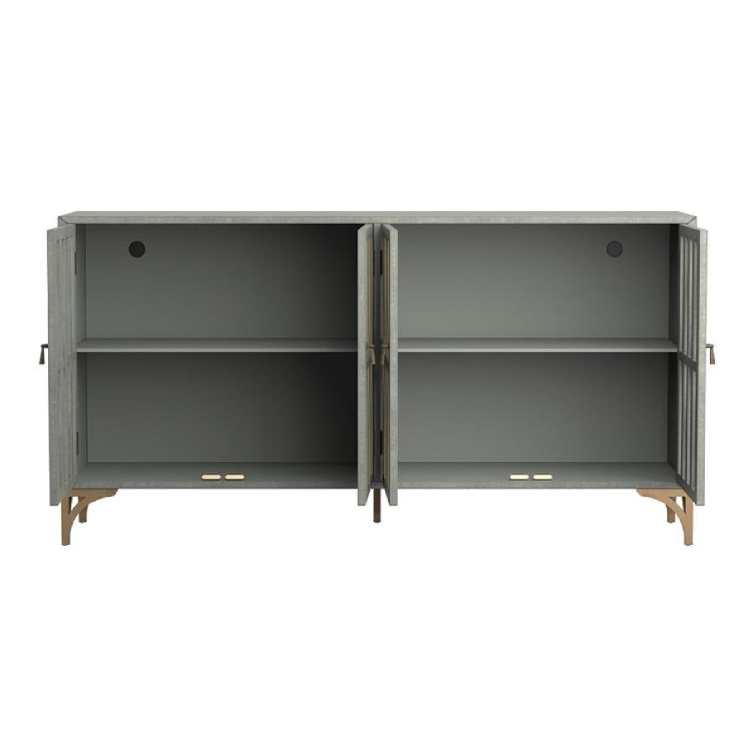 Contemporary Accent Cabinet In Grey Green w/ Bronze Hardware - image-3