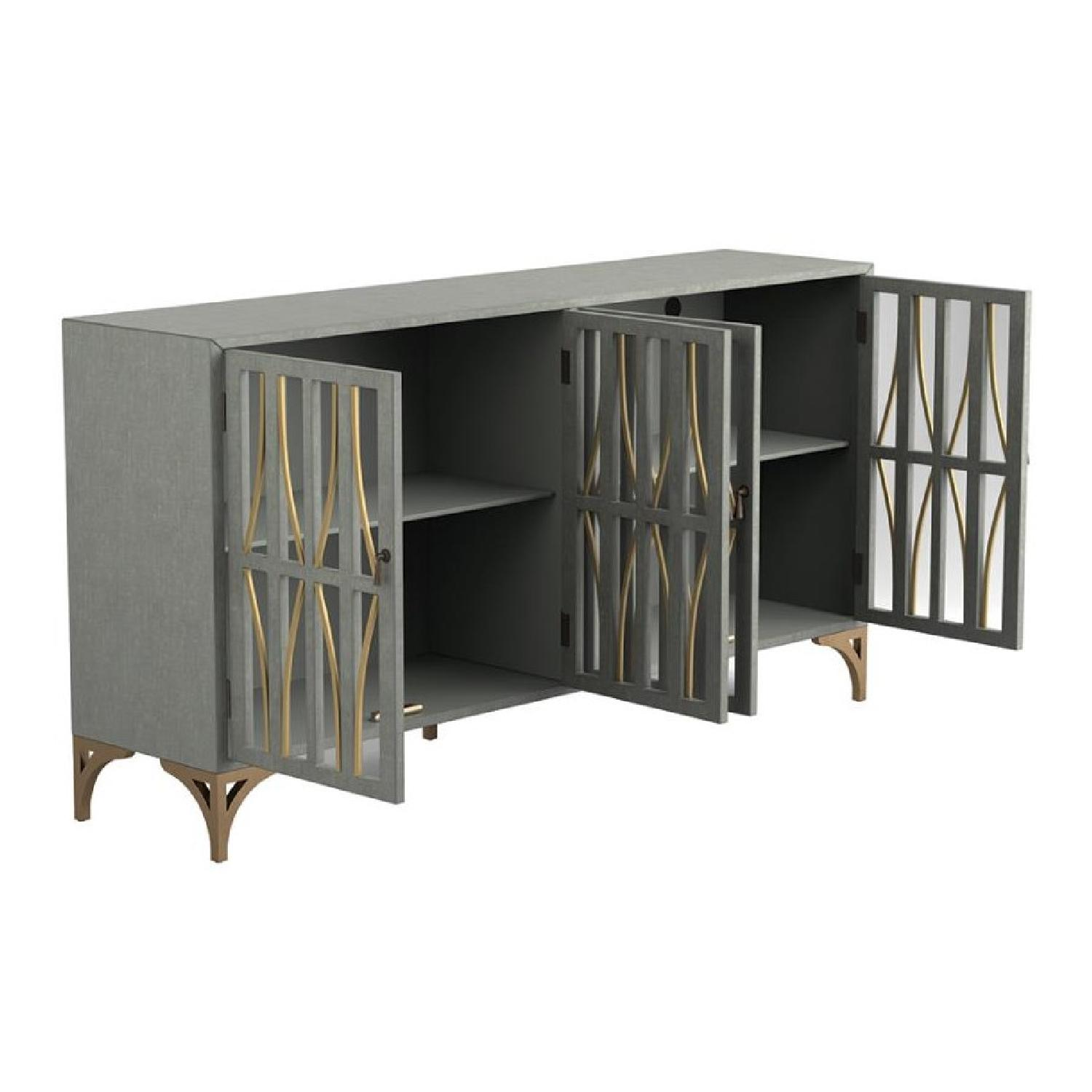 Contemporary Accent Cabinet In Grey Green w/ Bronze Hardware - image-5