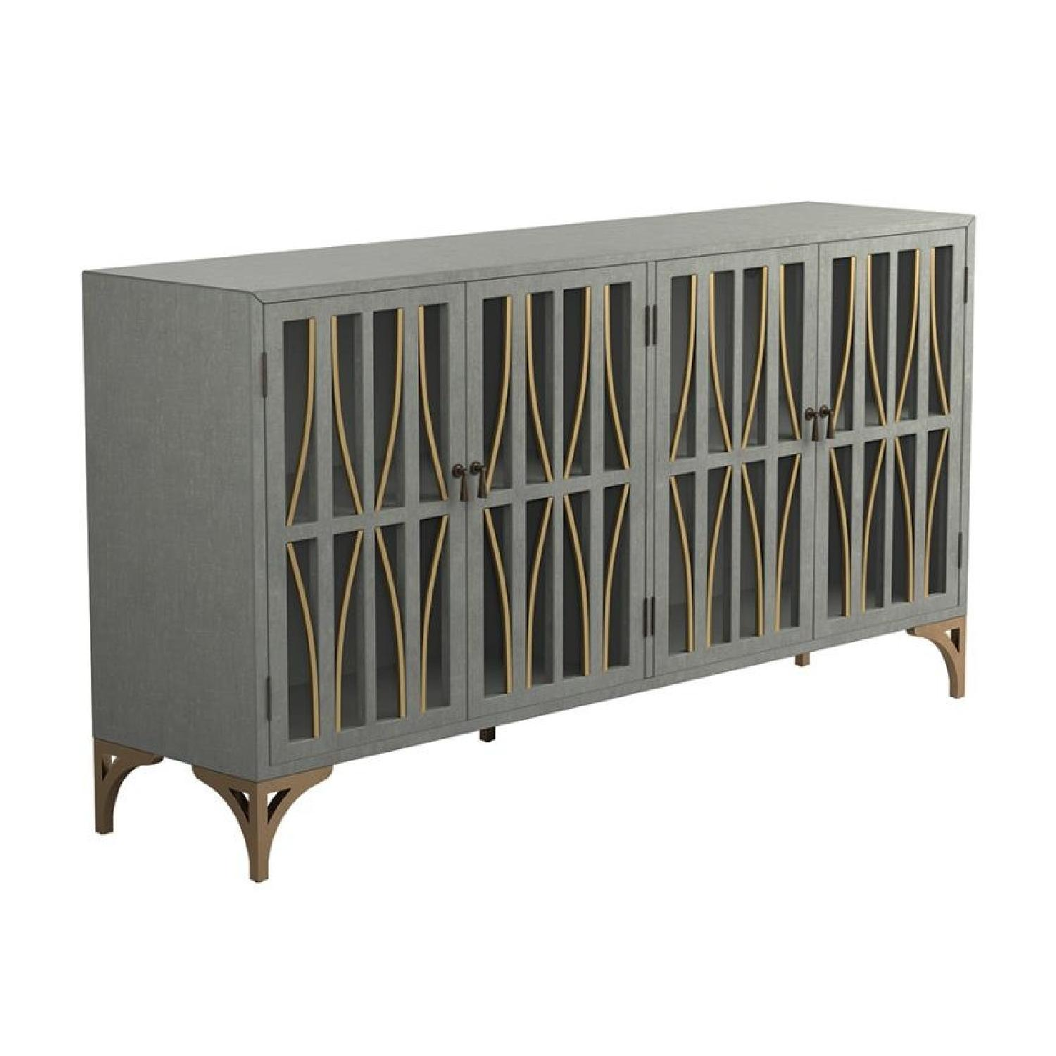 Contemporary Accent Cabinet In Grey Green w/ Bronze Hardware - image-0