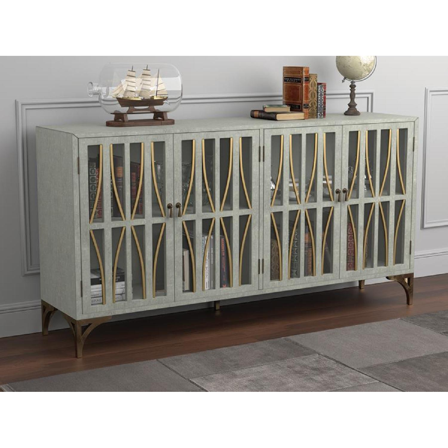 Contemporary Accent Cabinet In Grey Green w/ Bronze Hardware - image-6