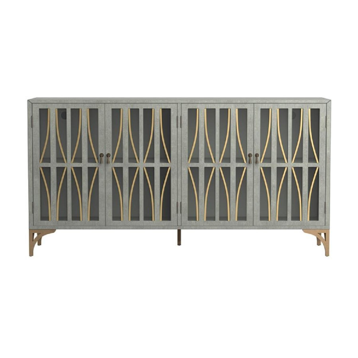 Contemporary Accent Cabinet In Grey Green w/ Bronze Hardware - image-2