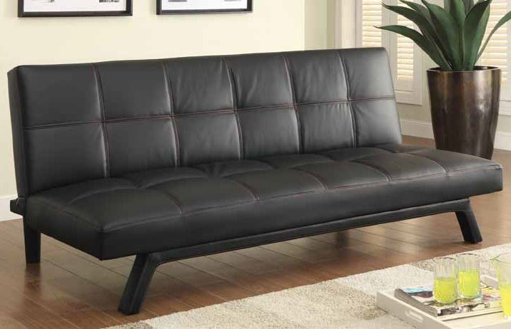 Coaster Fine Furniture Black Faux Leather Futon