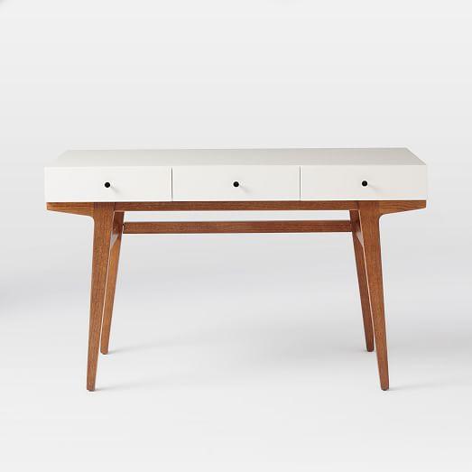West Elm Modern White Pecan Desk