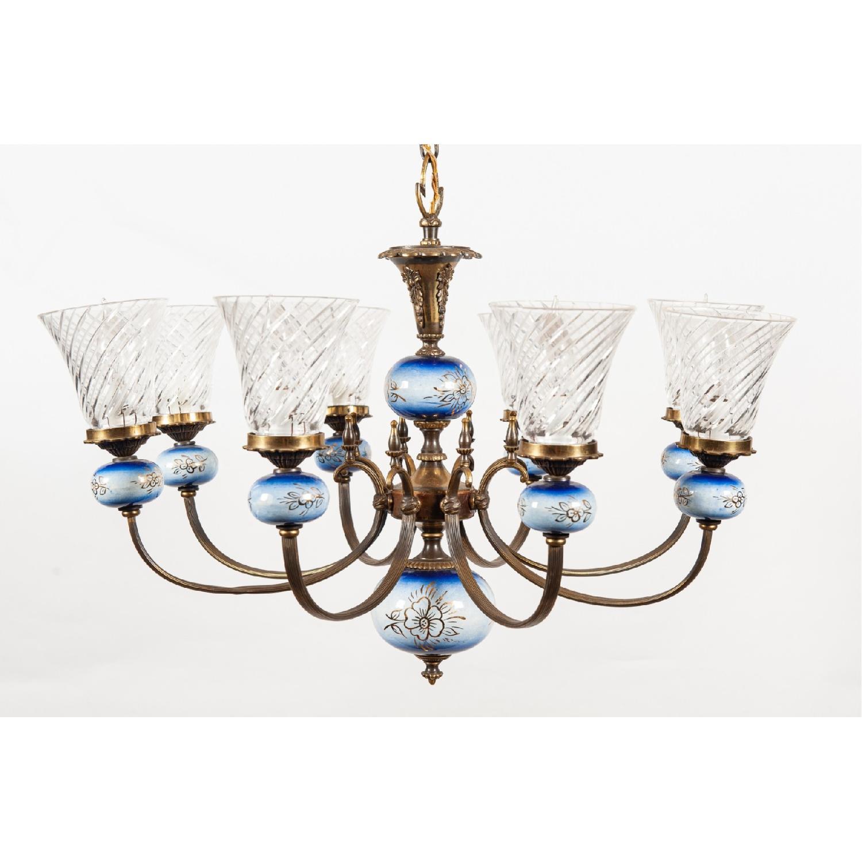 Vintage 8-Light Blue Porcelain Chandelier w/ Cut Glass Shade - image-0